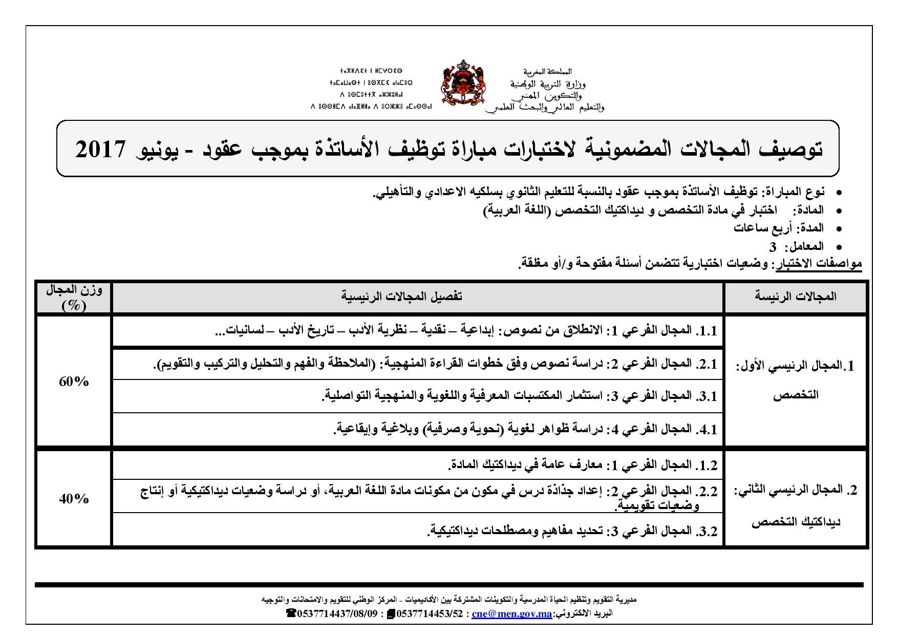 اختبار مباراة التوظيف بموجب عقود اللغة العربية ثانوي