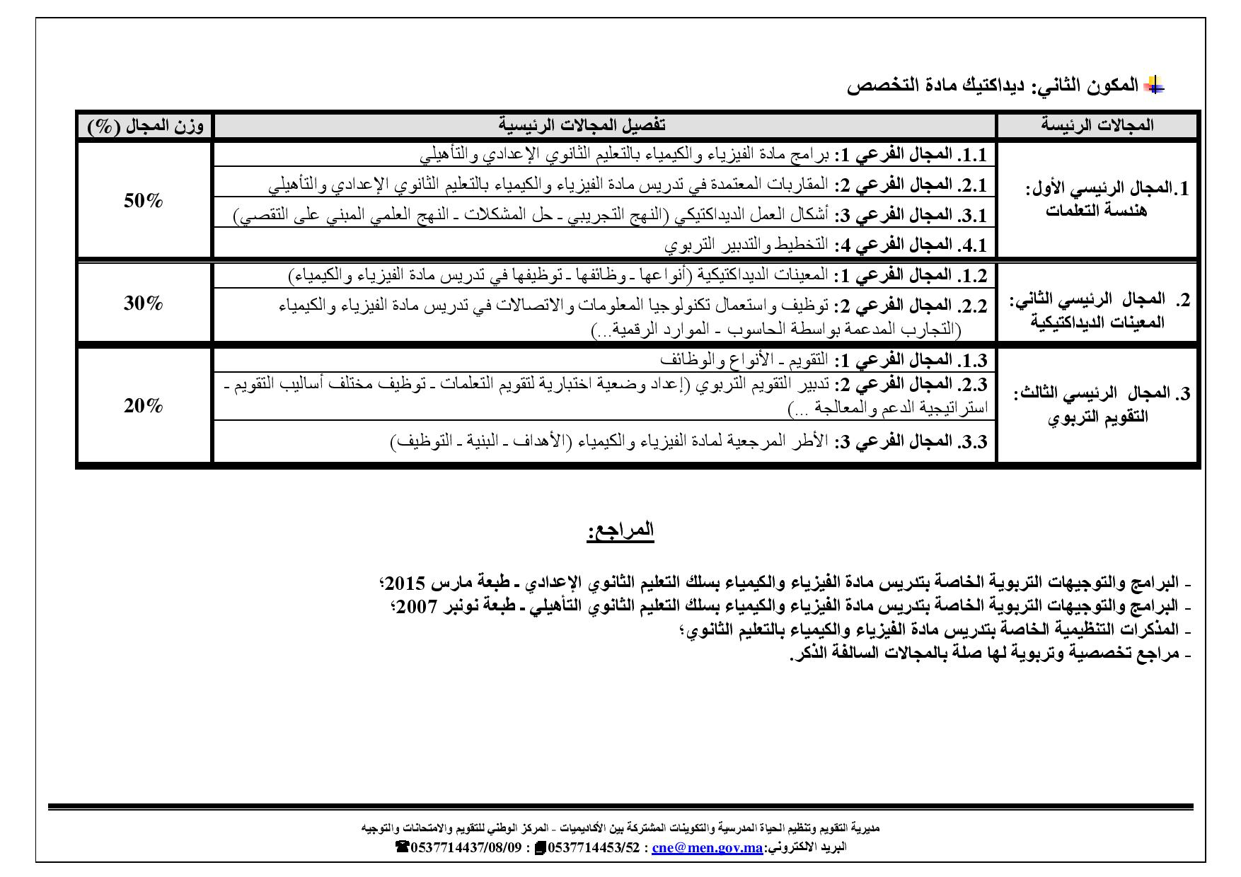 Document page 002 4 - اختبار الفيزياء والكيمياء ثانوي لمباراة التعاقد للتوظيف بالمدرسة المغربية