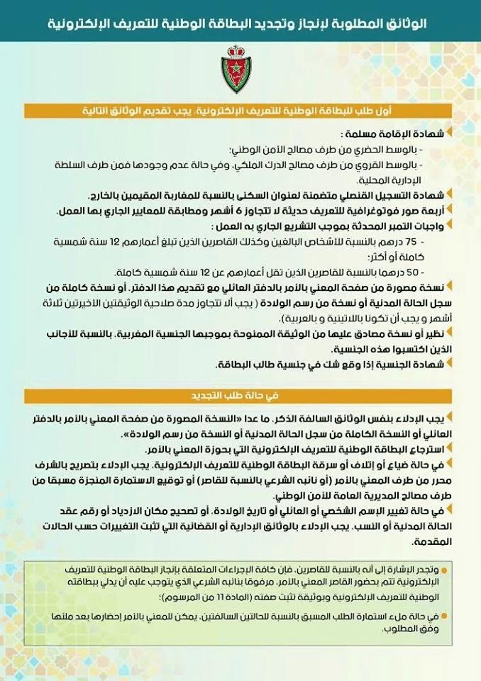 وثائق البطاقة الوطنية الجديدة بالمغرب