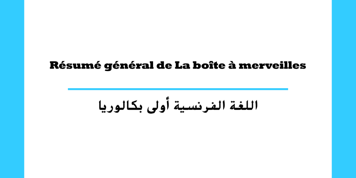 Résumé général de La boîte à merveilles السنة أولى باكالوريا